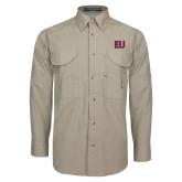 Khaki Long Sleeve Performance Fishing Shirt-EU