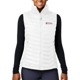 Columbia Mighty LITE Ladies White Vest-Evangel University Stacked