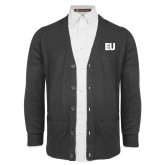 Charcoal V Neck Cardigan w/Pockets-EU