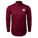 Maroon Twill Button Down Long Sleeve-EU