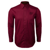 Maroon Twill Button Down Long Sleeve-EU Tone