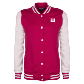 Ladies Pink Raspberry/White Fleece Letterman Jacket-EU