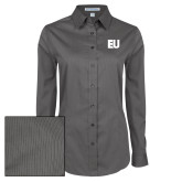 Ladies Grey Tonal Pattern Long Sleeve Shirt-EU
