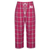 Ladies Dark Fuchsia/White Flannel Pajama Pant-EU