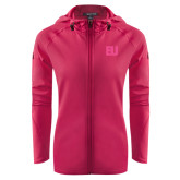 Ladies Tech Fleece Full Zip Hot Pink Hooded Jacket-EU Tone