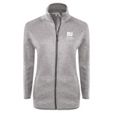 Grey Heather Ladies Fleece Jacket-Primary Mark