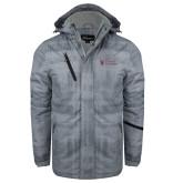 Grey Brushstroke Print Insulated Jacket-Evangel University Stacked