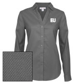 Ladies Red House Diamond Dobby Charcoal Long Sleeve Shirt-EU