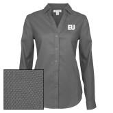 Ladies Red House Diamond Dobby Charcoal Long Sleeve Shirt-EU