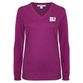 Ladies Deep Berry V Neck Sweater-EU