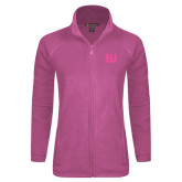 Ladies Fleece Full Zip Raspberry Jacket-EU Tone