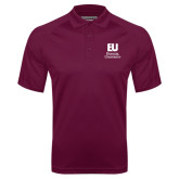 Maroon Textured Saddle Shoulder Polo-Primary Mark
