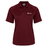 Ladies Maroon Textured Saddle Shoulder Polo-Evangel University Stacked