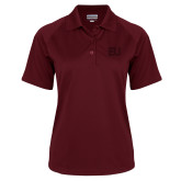 Ladies Maroon Textured Saddle Shoulder Polo-EU