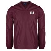 V Neck Maroon Raglan Windshirt-EU