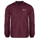 V Neck Maroon Raglan Windshirt-Evangel University Stacked