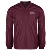 V Neck Maroon Raglan Windshirt-Evangel University Stacked