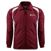 Colorblock Maroon/White Wind Jacket-Evangel University Stacked