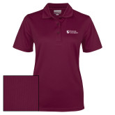 Ladies Maroon Dry Mesh Polo-Evangel University Stacked
