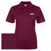 Ladies Maroon Dry Mesh Polo-AGTS Letters
