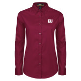 Ladies Maroon Twill Button Down Long Sleeve-EU