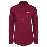 Ladies Maroon Twill Button Down Long Sleeve-Evangel University Stacked