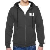 Charcoal Fleece Full Zip Hoodie-EU