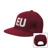 Maroon Flat Bill Snapback Hat-EU