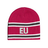 Pink/Charcoal/White Striped Knit Beanie-EU