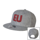 Heather Grey Wool Blend Flat Bill Snapback Hat-EU