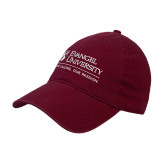 Maroon Twill Unstructured Low Profile Hat-Evangel University - Tagline