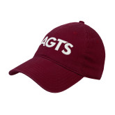 Maroon Twill Unstructured Low Profile Hat-AGTS Letters