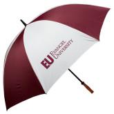 62 Inch Maroon/White Umbrella-Primary Mark Flat