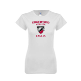Next Level Ladies SoftStyle Junior Fitted White Tee-Edgewood College Eagles