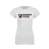 Next Level Ladies SoftStyle Junior Fitted White Tee-Edgewood College