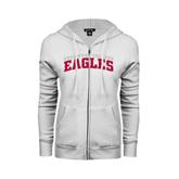 ENZA Ladies White Fleece Full Zip Hoodie-Arched Edgewood College Eagles