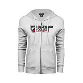 ENZA Ladies White Fleece Full Zip Hoodie-Edgewood College