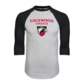 White/Black Raglan Baseball T-Shirt-Official Logo Distressed