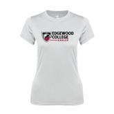 Ladies Syntrel Performance White Tee-Edgewood College