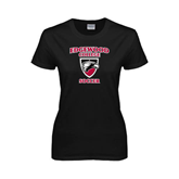 Ladies Black T Shirt-Soccer