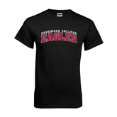 Black T Shirt-Arched Edgewood College Eagles