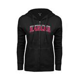 ENZA Ladies Black Fleece Full Zip Hoodie-Arched Edgewood College Eagles