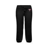 ENZA Ladies Black Banded Fleece Capri-Official Logo