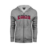 ENZA Ladies Grey Fleece Full Zip Hoodie-Arched Edgewood College Eagles