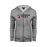 ENZA Ladies Grey Fleece Full Zip Hoodie-Edgewood College