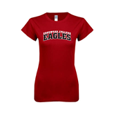 Next Level Ladies SoftStyle Junior Fitted Cardinal Tee-Arched Edgewood College Eagles