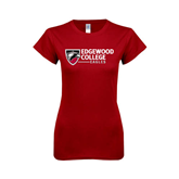 Next Level Ladies SoftStyle Junior Fitted Cardinal Tee-Edgewood College