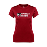Ladies Syntrel Performance Cardinal Tee-Edgewood College