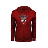 ENZA Ladies Cardinal Fleece Full Zip Hoodie-Official Logo