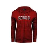 ENZA Ladies Cardinal Fleece Full Zip Hoodie-Arched Edgewood College Eagles